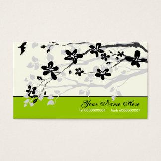 Magnolia flowers black grey floral business card