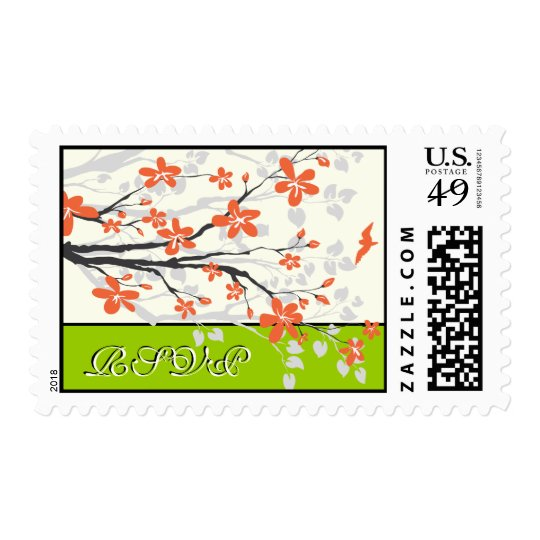 Magnolia flowers orange lime green wedding RSVP Postage