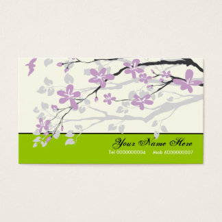 Magnolia flowers purple lime green floral business card