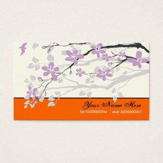 Magnolia flowers purple orange floral business card