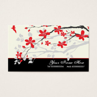 Magnolia flowers red black floral business card