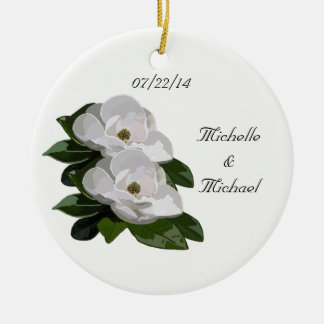 Magnolia Flowers Save the Date Wedding Ornament