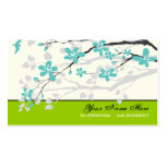 Magnolia flowers turquoise green floral Double-Sided standard business cards (Pack of 100)