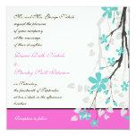 Magnolia flowers turquoise, hot pink wedding custom announcement
