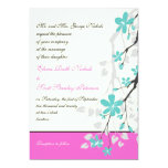 Magnolia flowers turquoise, hot pink wedding personalized invite