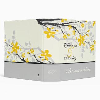 Magnolia flowers yellow grey wedding binder 3 ring binder