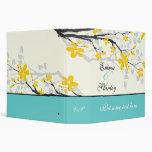 Magnolia flowers yellow turquoise wedding binder vinyl binder