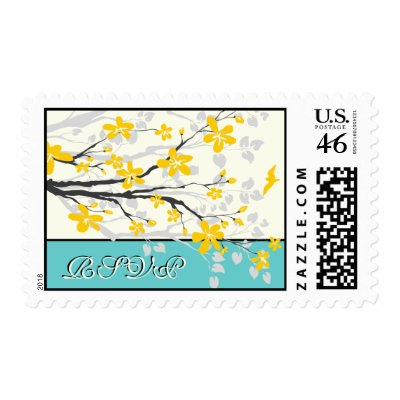 Magnolia flowers yellow turquoise wedding RSVP Stamp by weddings