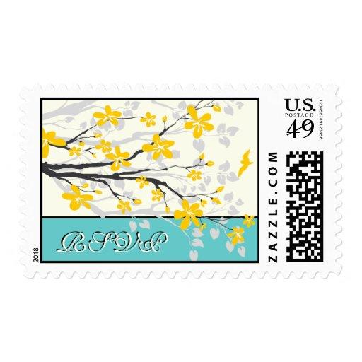 Magnolia flowers yellow turquoise wedding RSVP Postage Stamp
