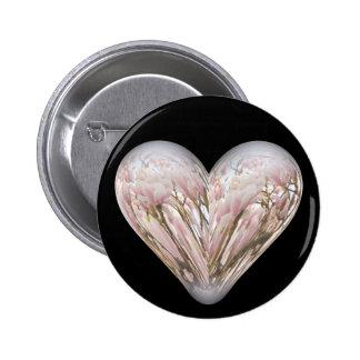 magnolia heart 2 inch round button