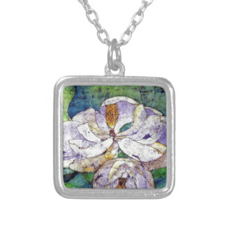 Magnolia in blue.jpg silver plated necklace
