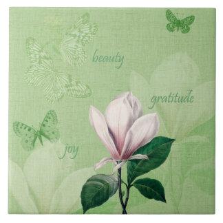 Magnolia inspirada floral azulejo cuadrado grande