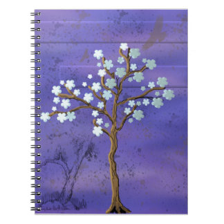 Magnolia Inspired Tree with Blue Background Spiral Note Book