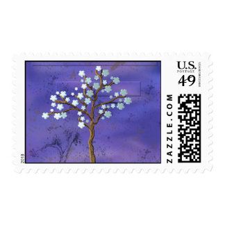 Magnolia Inspired Tree with Blue Background Postage