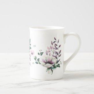 Magnolia Mystique Watercolor Bone China Mug