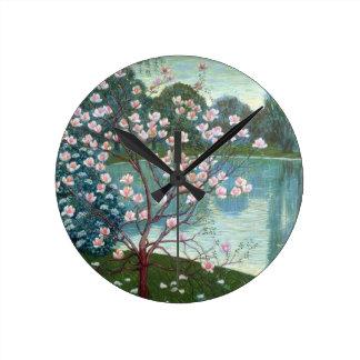 Magnolia (oil on canvas) round clock