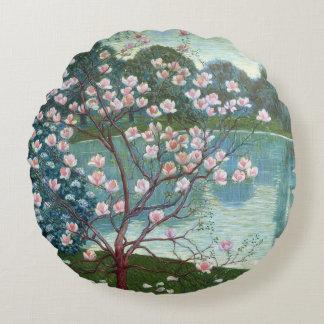 Magnolia (oil on canvas) round pillow
