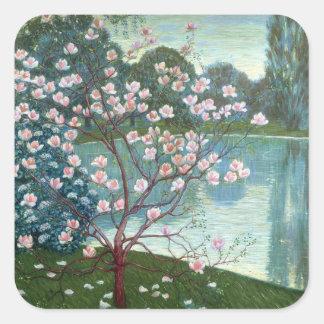 Magnolia (oil on canvas) square sticker
