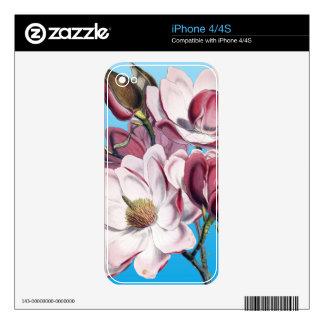 Magnolia On Blue iPhone 4S Skin