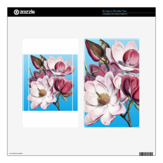 Magnolia On Blue Kindle Fire Decals