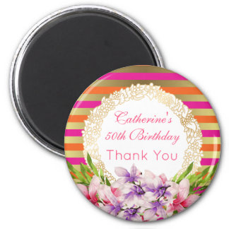 Magnolia on Pink & Faux Gold Stripes Birthday Magnet