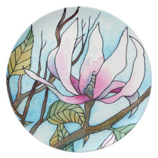 Magnolia Painting Fine Art Plate