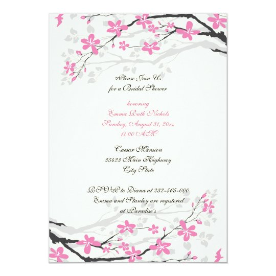 Magnolia pink flowers bridal shower invitation