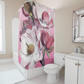magnolia pink vintage shower curtain