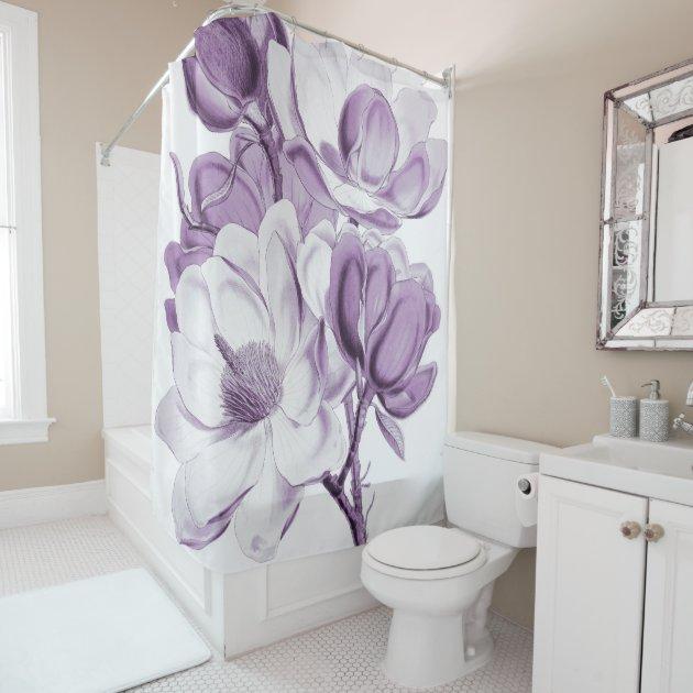 magnolia purple dream shower curtain | zazzle