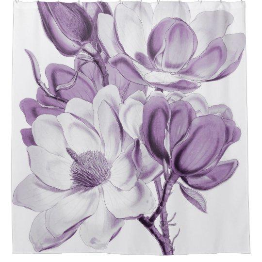 magnolia purple dream shower curtain