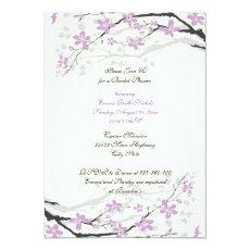 Magnolia purple flowers bridal shower invite 5
