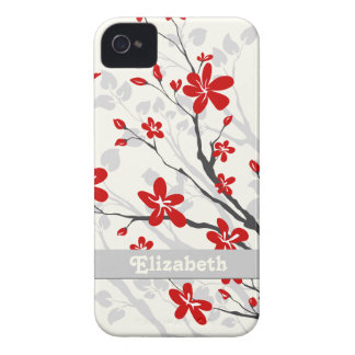 Magnolia red flowers floral custom iPhone 4 cases