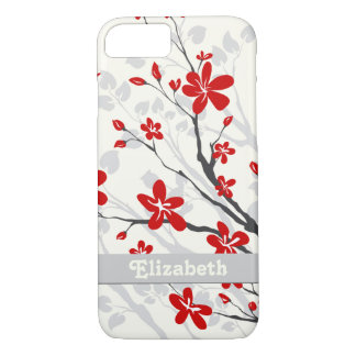 Magnolia red flowers floral custom iPhone 7 case