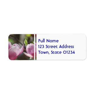 Magnolia rosada etiqueta de remite