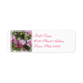 Magnolia rosada etiqueta de remitente