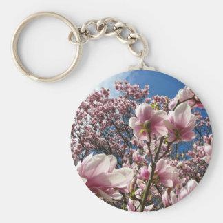 Magnolia rosada floreciente (Tulpenbaum) Llavero Redondo Tipo Pin