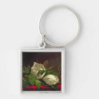 Magnolia Silver-Colored Square Keychain