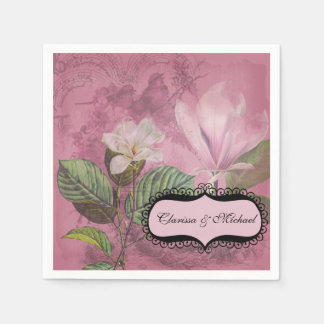 Magnolia Song Personalized Wedding Paper Napkins