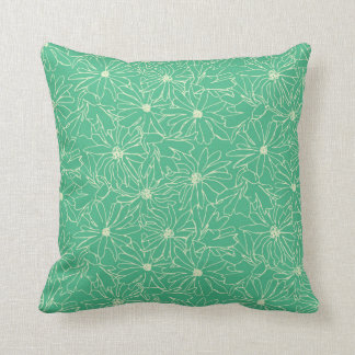 magnolia stellata green cream throw pillow