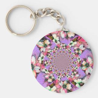 Magnolia Swirl PInk Design Basic Round Button Keychain
