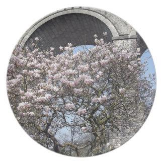 Magnolia Tree blooms by viaduct Melamine Plate