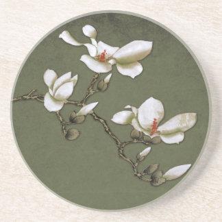 Magnolia verde y blanca del vintage posavaso para bebida