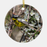 Magnolia Warbler Double-Sided Ceramic Round Christmas Ornament