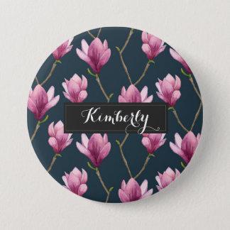 Magnolia Watercolor Floral Pattern Button