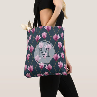 Magnolia Watercolor Floral Pattern Tote Bag