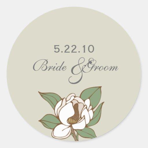 Magnolia Wedding Date Label Stickers