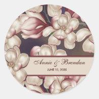 Magnolia Wedding Favor Labels Round Stickers