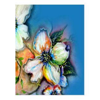 Magnolia with Blue Background Design Postcard
