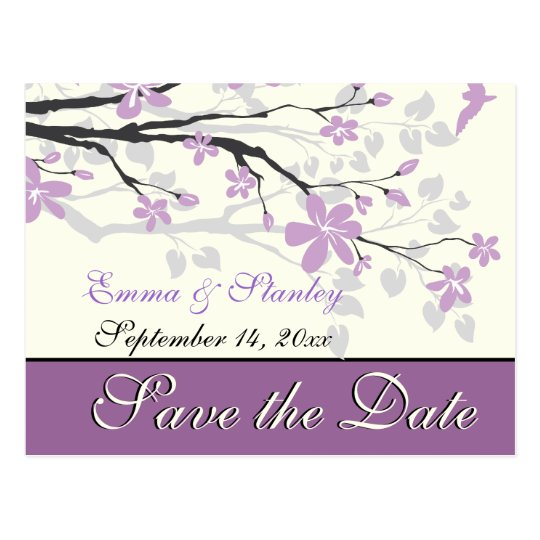 Magnolia with purple flowers wedding Save the Date Postcard