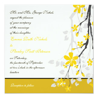 "Magnolia with yellow flowers wedding invitation 5.25"" square invitation card"